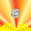 Mirror ball with abstract background — Imagens vectoriais em stock