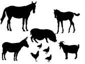Farm animals-silhouette — Stock Vector