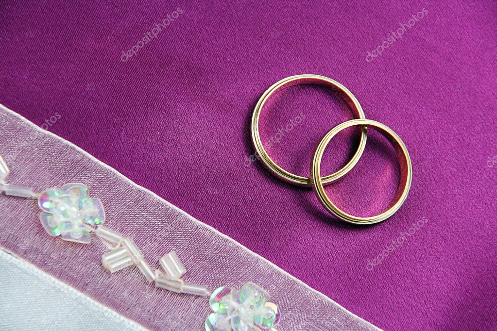 Invitation or Greeting Wedding Card - Rings on Fabric  Stock Photo #2557809