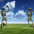 Royalty-Free Stock Photo: Jumping Skeletons