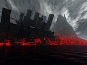 2012 Destruction Of City By Lava — Stock Photo