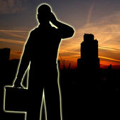 Businessman City Silhouette — Stock Photo