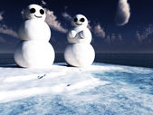 Snowman Couple — Stock Photo