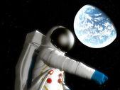 Astronauta con planeta alienígena — Foto de Stock
