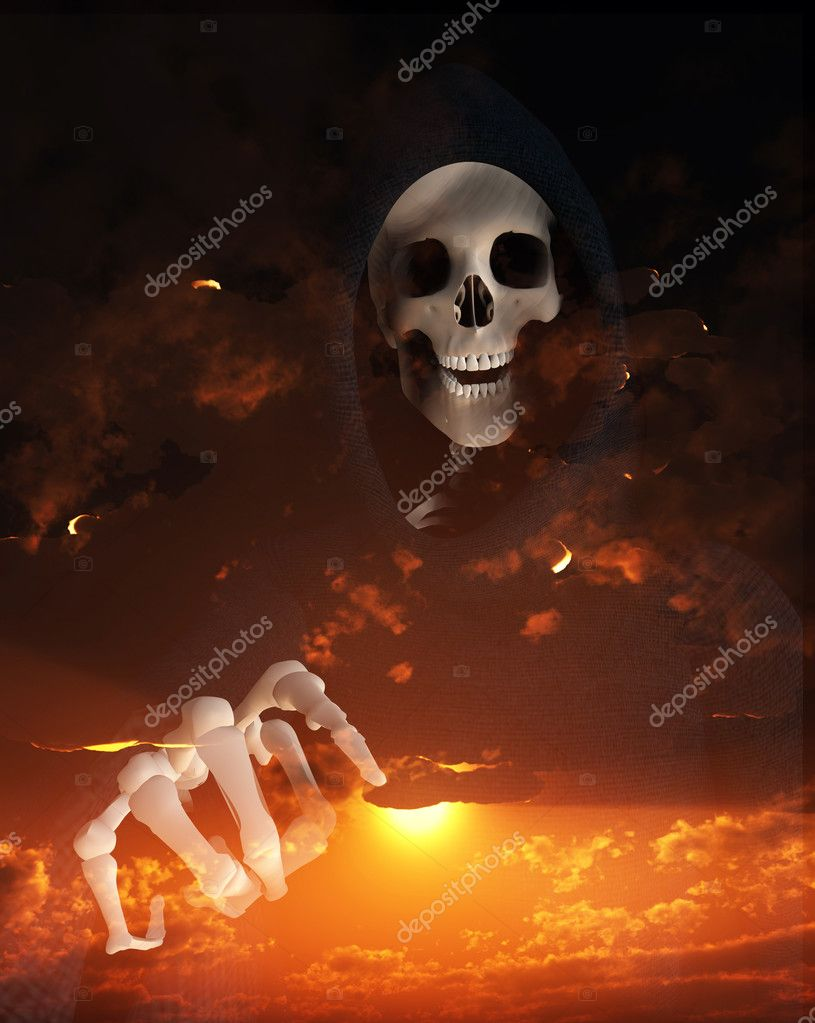 Figure of Death against a cloudy sunset. — Stock Photo #2562200