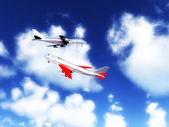 Two Planes In The Sky — Stock Photo