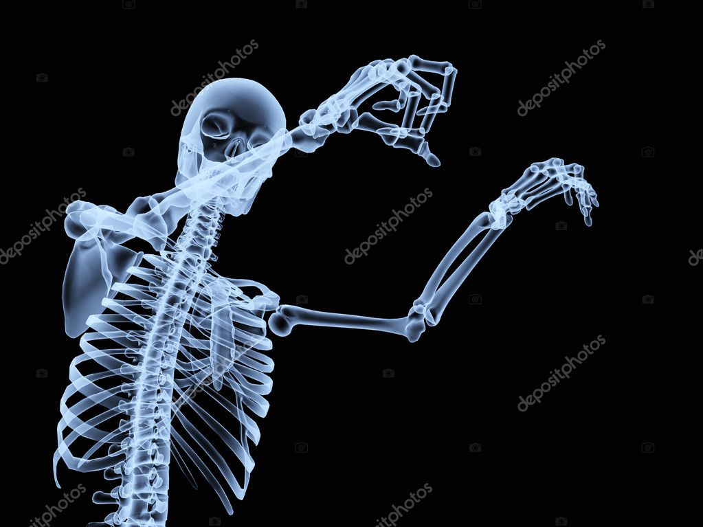 An x ray of a human skeleton in a pose. — Stock Photo #2574656