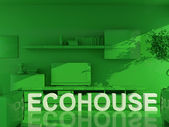 Ecohouse green image with white text — Stock Photo