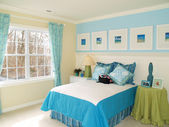 Blue bedroom — Stock Photo