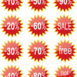 Royalty-Free Stock Vector Image: Red shiny discount tags