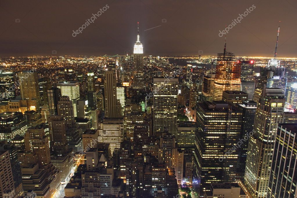 New York City Panorama from above at night  Stock Photo #2567640