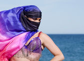 Belly Dancer with face covered — Stock Photo