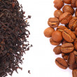 Coffee Bean and Black Tea — Stock Photo