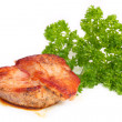 Stock Photo: Roasted meat with greens