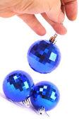Jul blå glaskula — Stockfoto