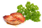 Roasted meat with greens — Stock Photo