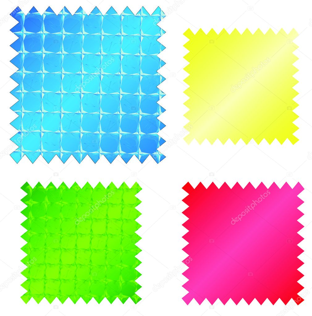 Four multi-coloured variants of samples drawings a textile.  Stock Vector #2658488