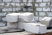 White bricks on the building place. — Stock Photo