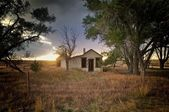 Small abandoned home in eastern Colorado — Stok fotoğraf