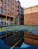 Standing water and bricks — Stock Photo