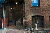 Urban scene, morning in the alley — Stock Photo
