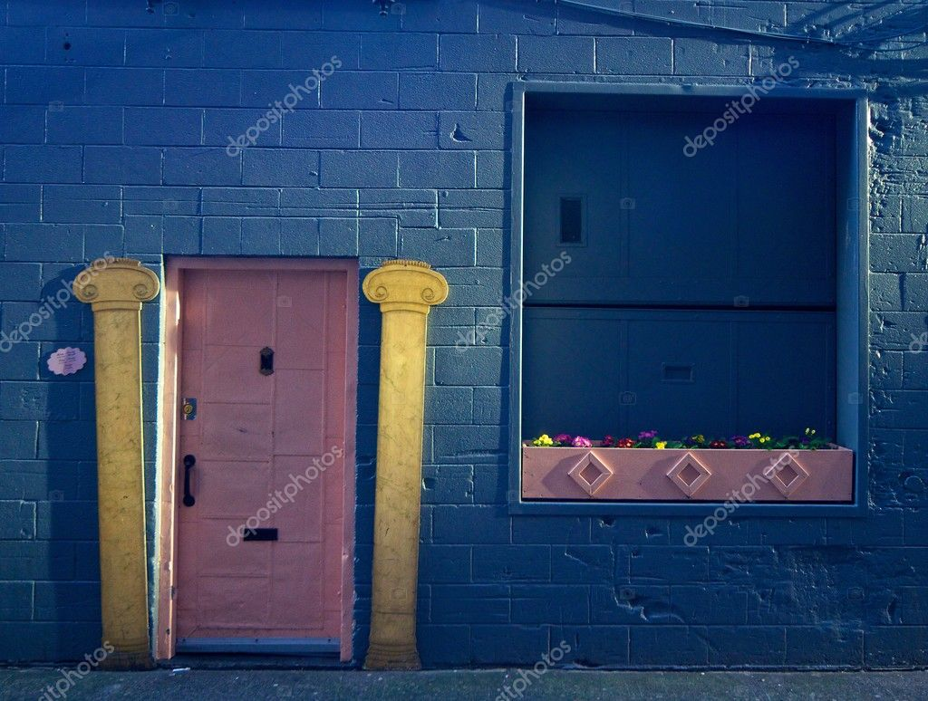 The colorful doorway of an alley entrance to a Seattle home.  Stock Photo #2586831