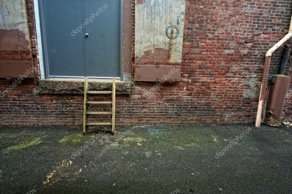 A small stepladder leads to the back door of a business. — Stock Photo #2586876
