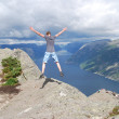 Fjord view jumping — Stock Photo