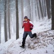 Stock Photo: Running man in winter mountain forest