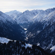 Winter in high mountain gorge - Stock Photo