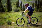 Biker on footpath in summer mountains — Stock Photo