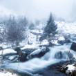 Stock Photo: Fog in winter mountains panoramic