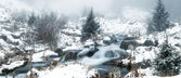 Fog in winter mountains panoramic — Stock Photo