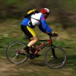 Speed motion mountain biker - Stock Photo
