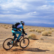 Bike racer in desert mountains — Stock Photo #2672774