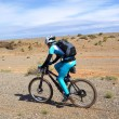 Bike racer in desert mountains — Stok fotoğraf