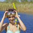 Underwater diving girl on lake — Stock Photo