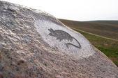 Mouse - primitive art draving on stone — Stock Photo
