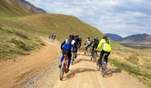 Mountain bikers group racing — 图库照片