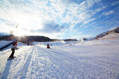 Mountain ski resort slope — Foto Stock