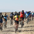 Mountain biker racing on desert road — Stock Photo