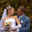 Stock Photo: Newly-married couple in autumn park