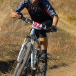 Mountain biker racing — Stock Photo