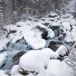 Winter mountain creek during snowfall — Stock Photo #2689182