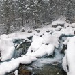 Winter mountain creek cascades during snowfall — Stock Photo