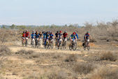 Mountain biker racing on desert road — 图库照片