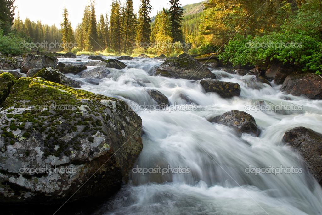 Sunrise and mountain flowing stream — Stock Photo #2685641