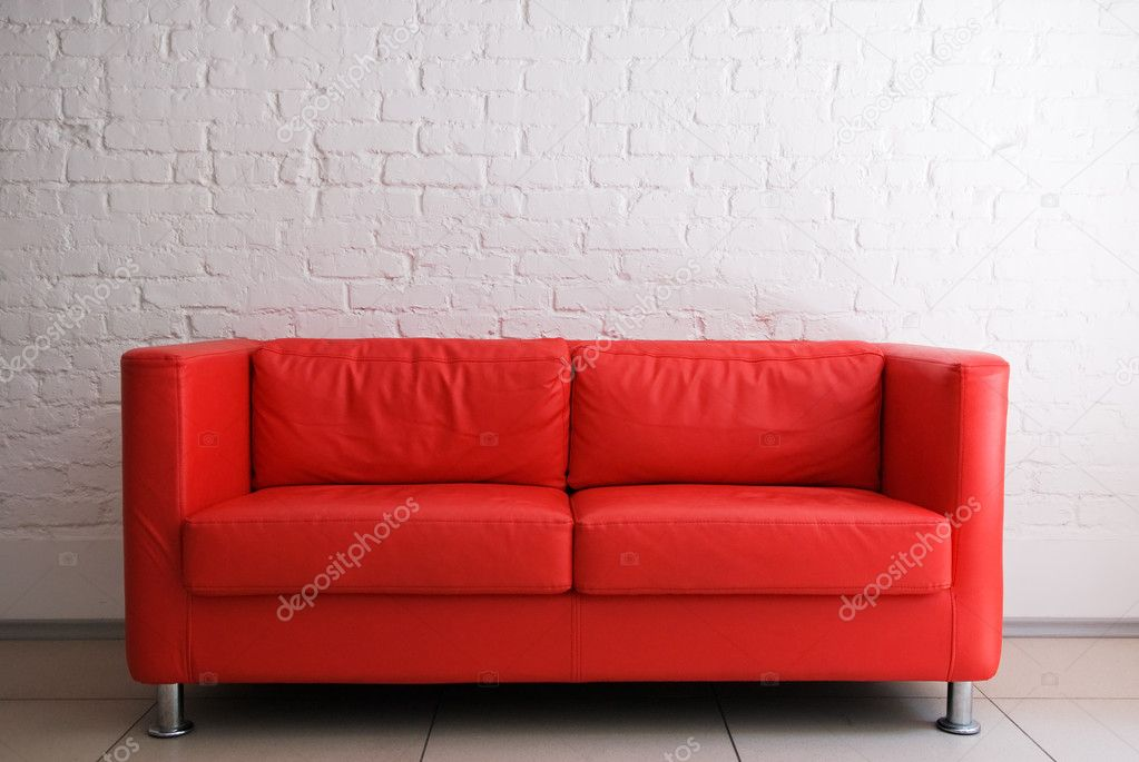 Red Sofa And White Brick Wall Stock Photo Petrichuk 2689411