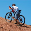 Foto Stock: Mountain biker uphill for download