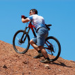 Stock Photo: Mountain biker uphill for download